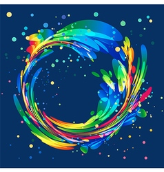 Abstract colorful circle frame on blue background vector image