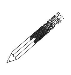 black contour pencil with end part pixelated vector image