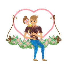 Drawing couple love embracing in swing floral vector