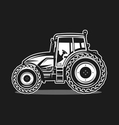 Black tractor on white background vector