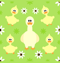Seamless background with funny goose vector