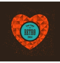 Retro heart with round banner for your message vector