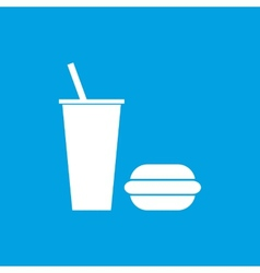 Fast food white icon vector