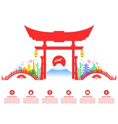 Japan travel landmarks vector