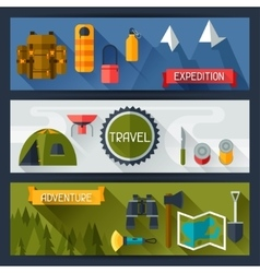Tourist banners with camping equipment in flat vector
