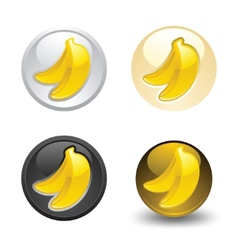 Banana button set web 20 icons vector
