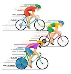 Cyclists in bicycle racing characters flat vector