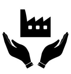 Factory in hand icon vector