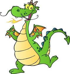 Happy green dragon dancing vector