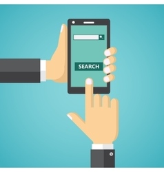 Hand holding phone with search field on the screen vector