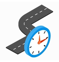 Road and clock icon isometric 3d style vector