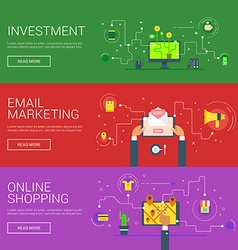 Investment email marketing online shopping flat vector