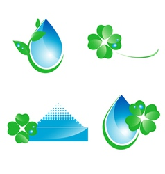 Water and green leaf ecology set vector