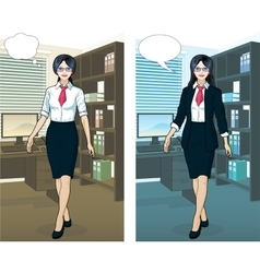 Asian businesswoman in office interior vector