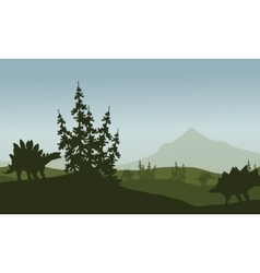 Silhouette of stegosaurus in green fields vector