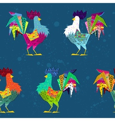 Abstract rooster cock silhouette in style of vector