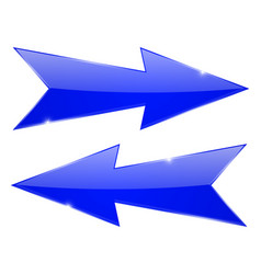 Blue arrows sharp glossy 3d web icons vector
