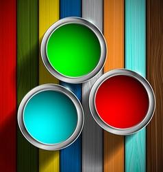 Buckets of paint on the wooden floor vector