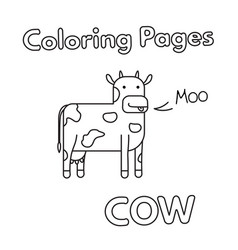 Cartoon cow coloring book vector