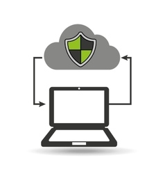 cloud computer connected shield protection vector image