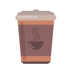 coffee cup with lid for coffee on take-away vector image