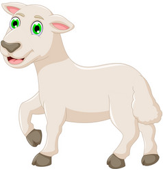 Cute baby goat cartoon posing vector
