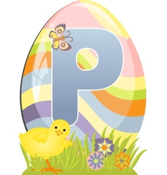Cute initial letter P vector image vector image