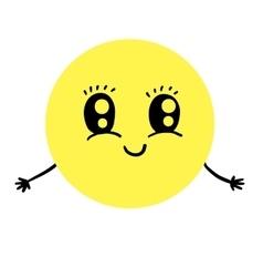 Cute smiling emoticon offering hugs vector image