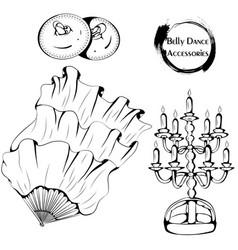 Dance line belly dance accessories vector