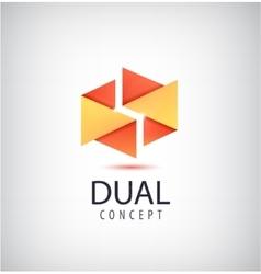 Dual concept logo origami 2 parts icon vector