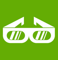 glasses for 3d movie icon green vector image
