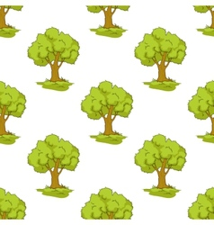 Green tree seamless background pattern vector image