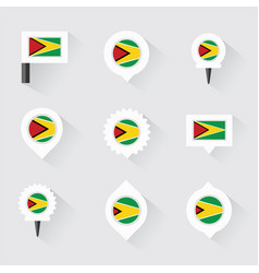 Guyana flag and pins for infographic and map vector