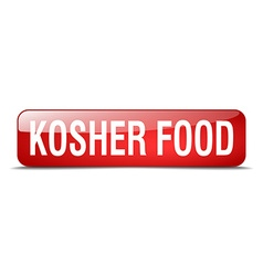 Kosher food red square 3d realistic isolated web vector