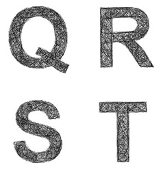 Line art font set - letters q r s t vector
