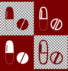 Medical pills sign bordo and white icons vector