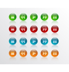 Music player button round in 4 colour vector