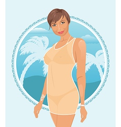 pretty summer girl vector image