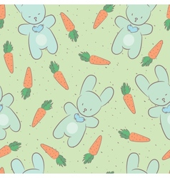 Seamless background with a picture of cute rabbits vector image vector image