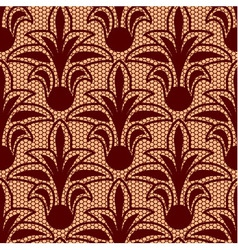 Seamless brown floral lace pattern vector