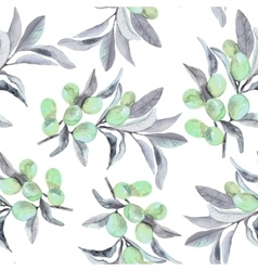 Seamless pattern of olive branch in watercolor vector
