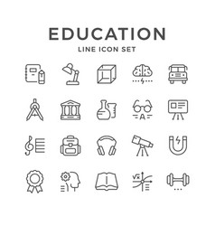 set line icons of education vector image vector image