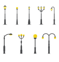 set of street lamps vector image vector image