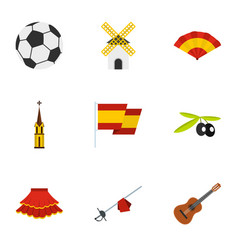 Sights of spain icons set flat style vector