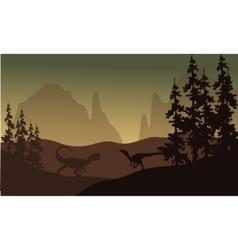 Silhouette of allosaurus and eoraptor vector
