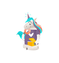 Sitting unicorn character with box of donuts vector