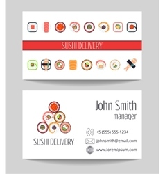 Sushi delivery business card template vector image