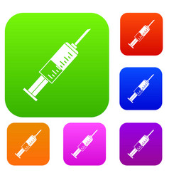 syringe set color collection vector image