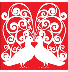 whitekissing doves heart symbol love concept vector image