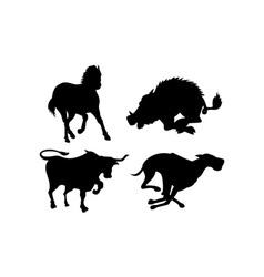 Wildlife silhouettes vector